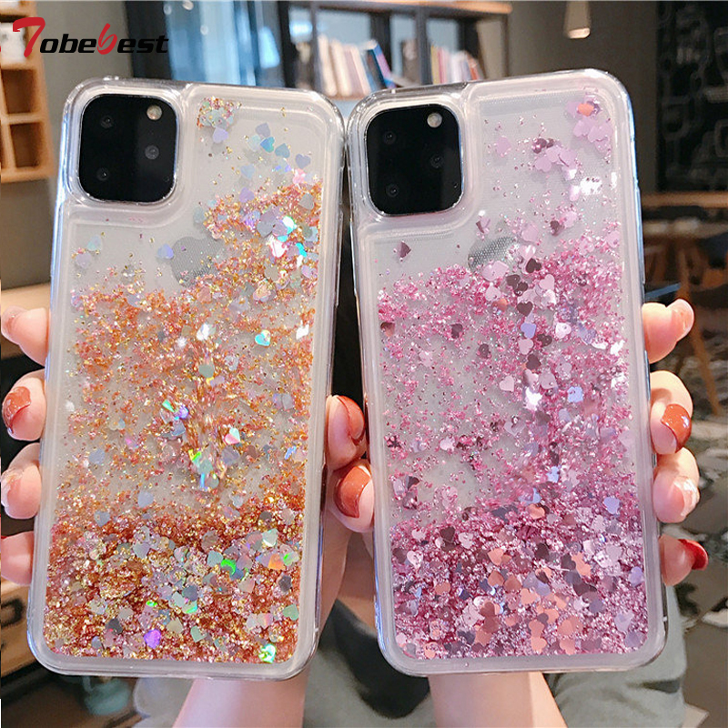 Glitter Liquid Case For IPhone 11 X XS XR XS Max 8 7 6 6S Plus Silicone Cases Dynamic Qicksand Star Back Cover For Iphone 11