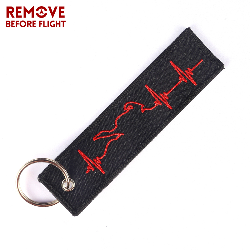 Travel Accessories Heartbeat Keychain Luggage Tags Embroidery Key Ring Portable Label For Travel Luggage Bag Tag Aviation Gift