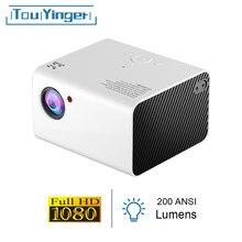 Touyinger h5 mini projetor led 1920*1080p resolução suporte completo hd vídeo beamer para cinema em casa cinema pico filme projetores