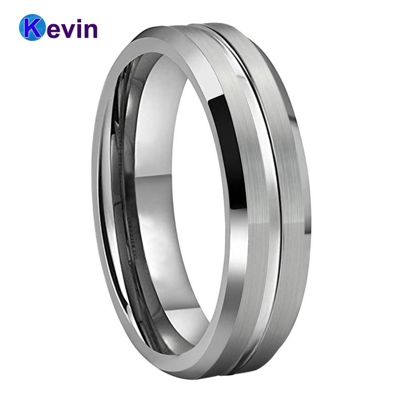 8MM Rose Gold Brushed Beveled Edge Zipper Grooved Center Tungsten Ring Men Women Tungsten Wedding Band Custom Engraved Personalized Ring