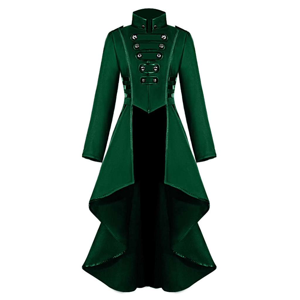 Cosplay Jacket Women Gothic Steampunk Overcoat Button Lace Corset Halloween Costume Coat Tailcoat Jacket #YL10