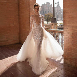 Mermaid Wedding Dresses Sexy V Neck Backless Beach Bohemian Bridal Gowns Lace Long Sleeves Wedding Dress Overskirt