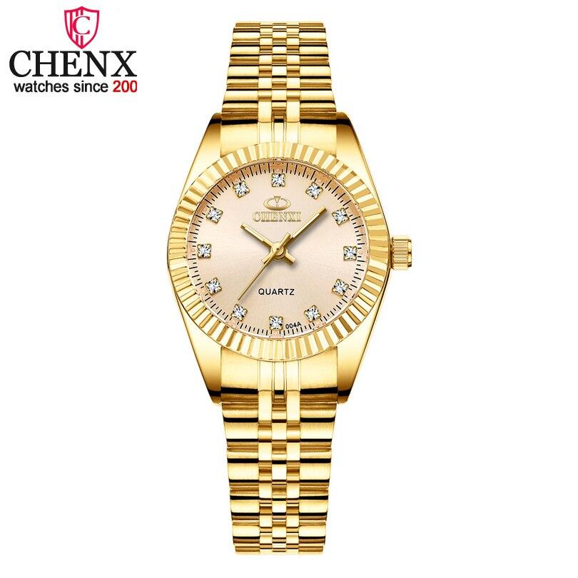 Chenxi marca menina relógio feminino moda casual quartzo relógios senhoras gloden aço inoxidável presentes femininos relógio de pulso