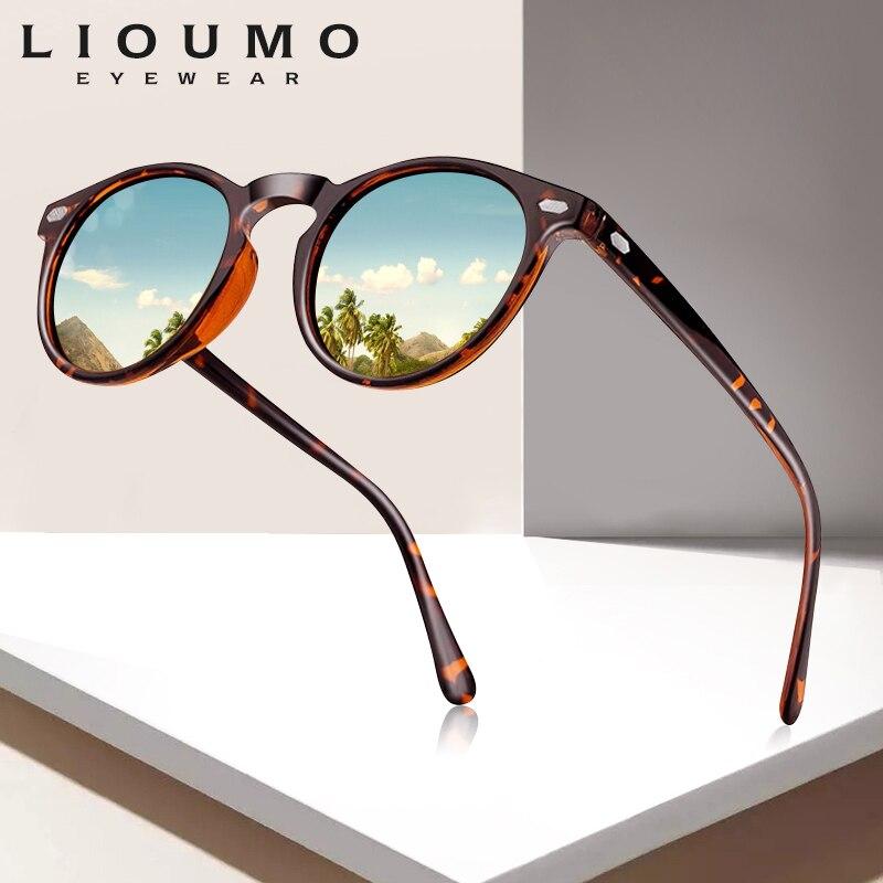 LIOUMO DESIGN Unisex Ultralight TR90 Polarized Sunglasses Men Women Driving Round Pink Shades Vintage Sun Glasses Gafas De Sol