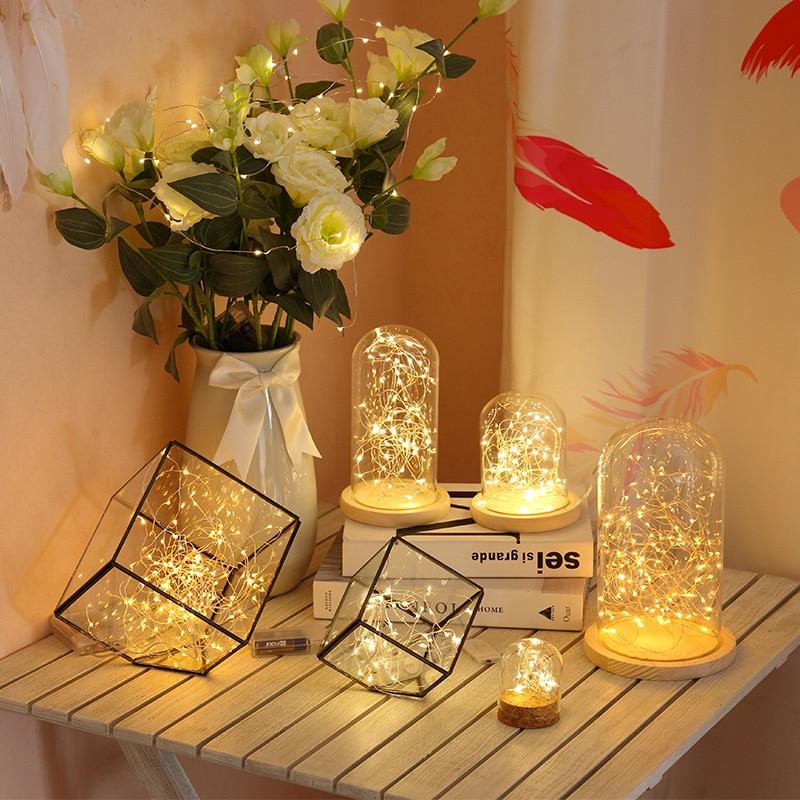 Luzes de natal guirlanda led string fada luz aa cr2032 alimentado por bateria usb para interior ao ar livre casamento decoração do ano novo