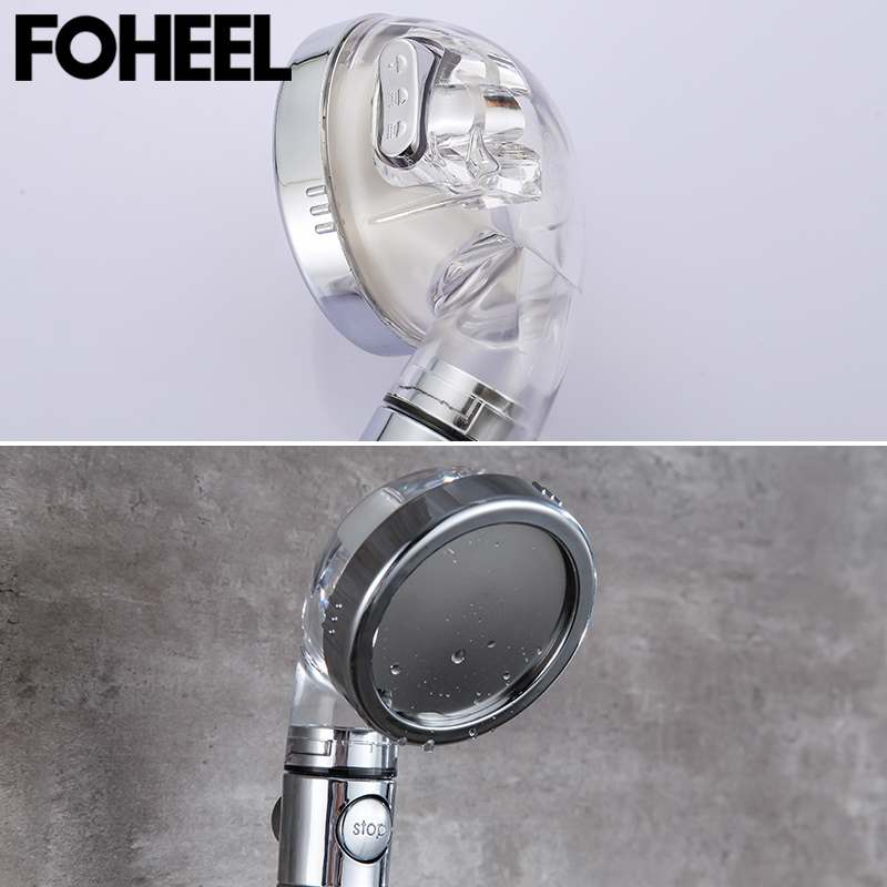 FOHEEL shower head hand shower adjustable 3 mode high pressure shower head water saving one button to stop water shower heads 3
