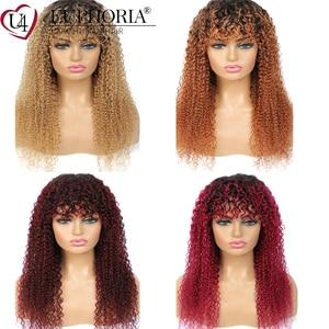 Image 5 - Ombre Brown 30 parrucche ricci crespi parrucche brasiliane per capelli umani Remy parrucche piene con frangia parrucche corte ricci di colore naturale euforia