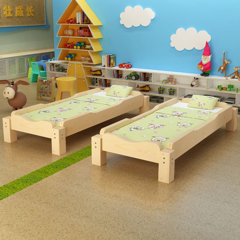 Kindergarten Household Children Bed Children Furniture Nap Bed Solid Wood Children Bed Guard Removable   WJ021650