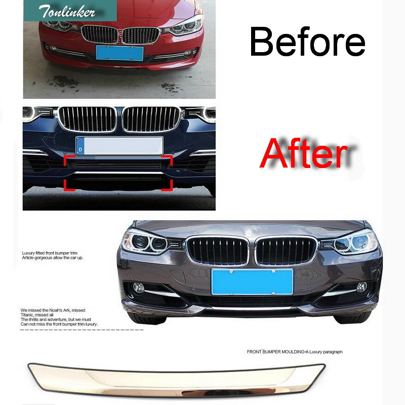 Tonlinker 1 <font><b>PCS</b></font> Car Stainless Steel Front Bumper Light Cover Case stickers for <font><b>Bmw</b></font> F30 F35 3 Series 316i/320li/328li Accessories image