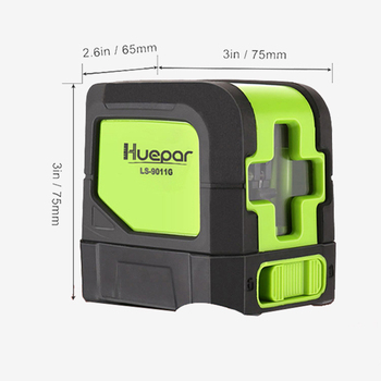 Huepar 2 Lines Laser Level Self Levelling ( 4 degrees) Green Red Beam Laser Horizontal amp Vertical Cross-Line with Magnetic Base tanie i dobre opinie HeiPoe Pionowe i Poziome Lasery 2 linie 7 5x6 5x7 5cm(3 x2 6 x3 ) 510nm 635nm +-3mm 10m 9011G 9011R Green Red 520g Battery-Powered