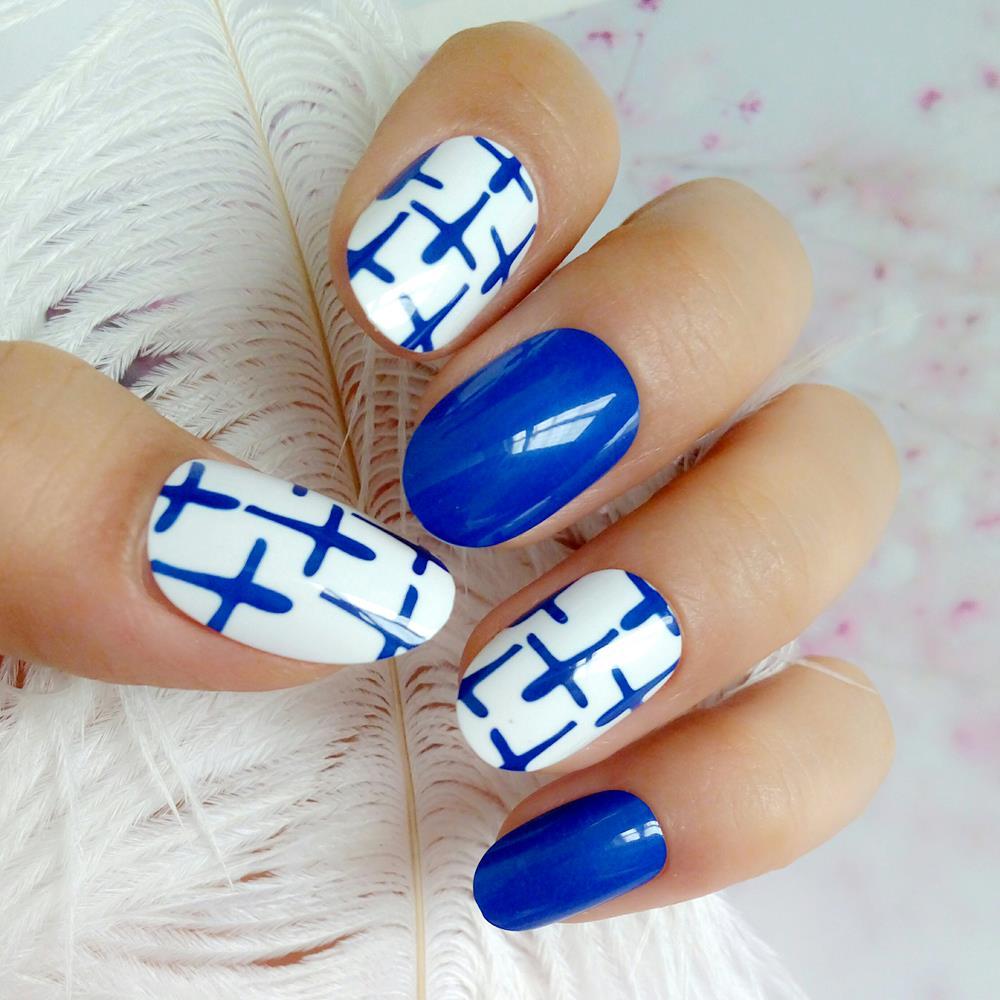 Fashion Short Artificial False Nails With Design Royal Blue Fake Fingernails DIY Lady Salon Tips Manicure Tool