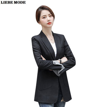 2020 Autumn Women's Long Blazers Solid Dark Light Grey Black Pockets Formal Suits Jackets Office Ladies Notched Outerwear Tops