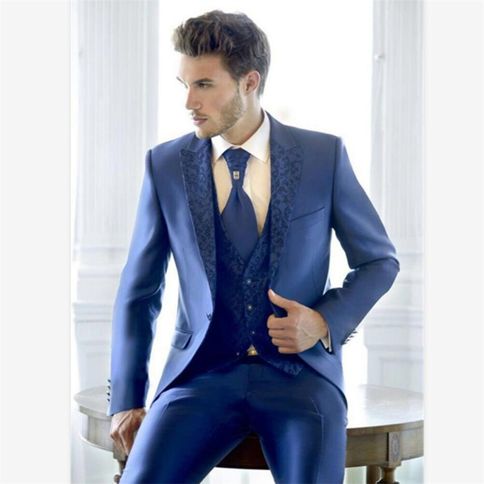 New Classic Men's Suit Smolking Noivo Terno Slim Fit Easculino Evening Suits For Men Latest Design Blue Tailored Prom Business