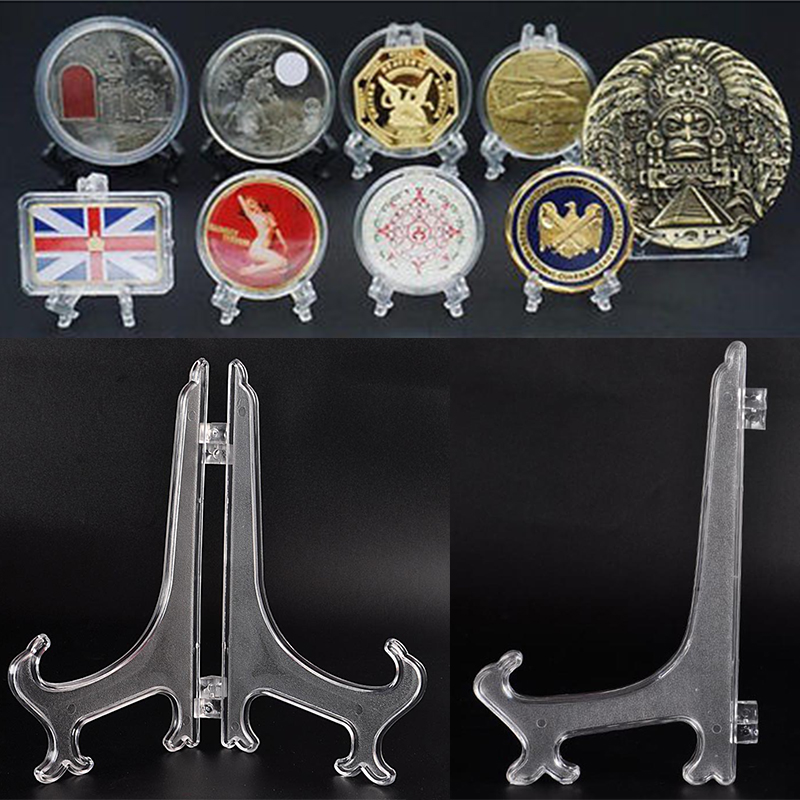 10PCS Mini Coin Shelves Clear Plastic Foldable Coin Minerals Plates Cards Display Badge Post Stand Holder