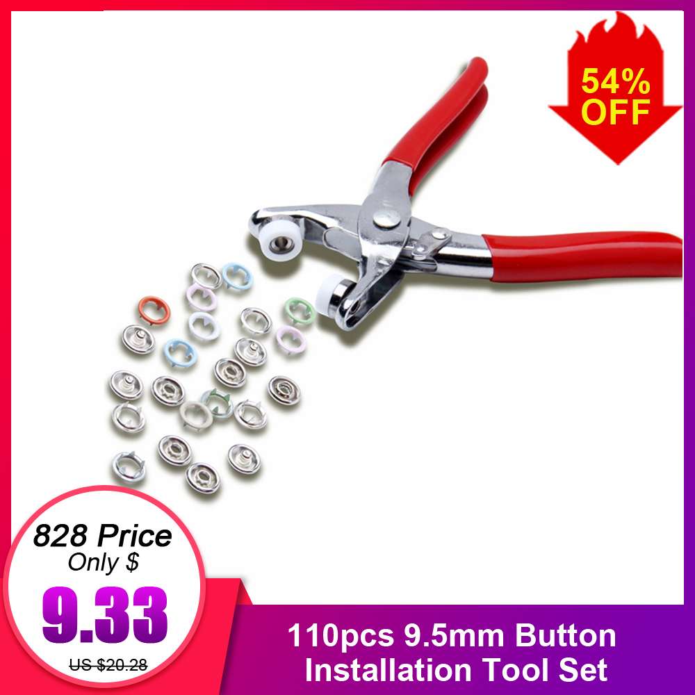 1 pliers tool 100sets for skin care 9.5mm metal prong snap Buttons Clamps