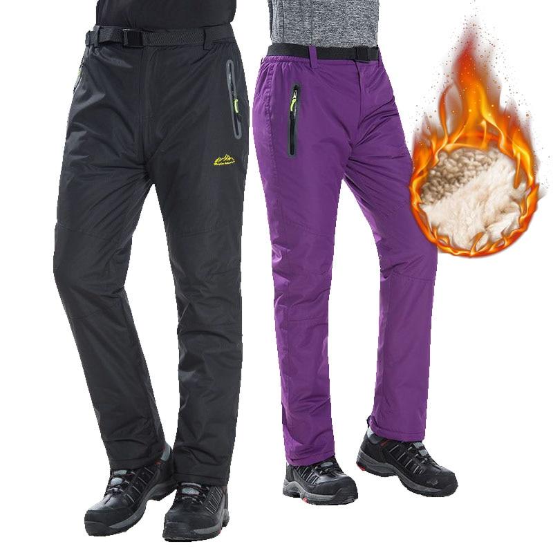 New Ski Pants Men And Women Outdoor Windproof Waterproof Thicken Warm Snow Pants Winter Ski Snowboard Pants Camping Hiking Pants