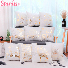 Staraise Gold Bronzing Christmas Cushion Cover Cotton Linen Sofa Home Decorative cover Happy New Year  Pillow Case