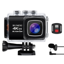 4K Sports Action camera with EIS Function 170D WiFi Waterproof 30M With Remote Controller External Mic Video Recording Cameras