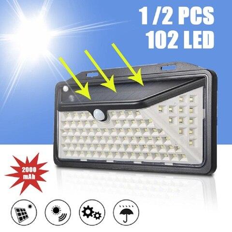102 led sensor de movimento luz de parede solar mpow 3 modos ajustaveis ip65 a