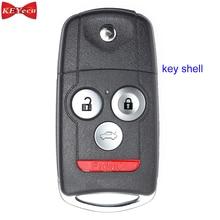 KEYECU для Acura MDX RDX TL TSX ZDX для Honda Accord дистанционного ключа автомобиля оболочки чехол Корпус fob крышка 4 кнопки
