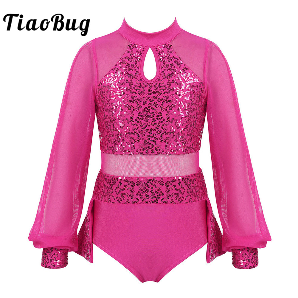 TiaoBug Kids Split Long Sleeves Shiny Sequins Tulle Splice Gymnastics Leotard Girls Ballet Dress Stage Performance Dance Costume