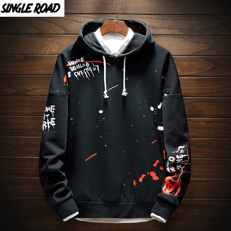 SingleRoad Men's Hoodies Men Sweatshirt Print Pullover Japanese Streetwear Harajuku Hip Hop Fashion Sweatshirts Male Hoodie Men