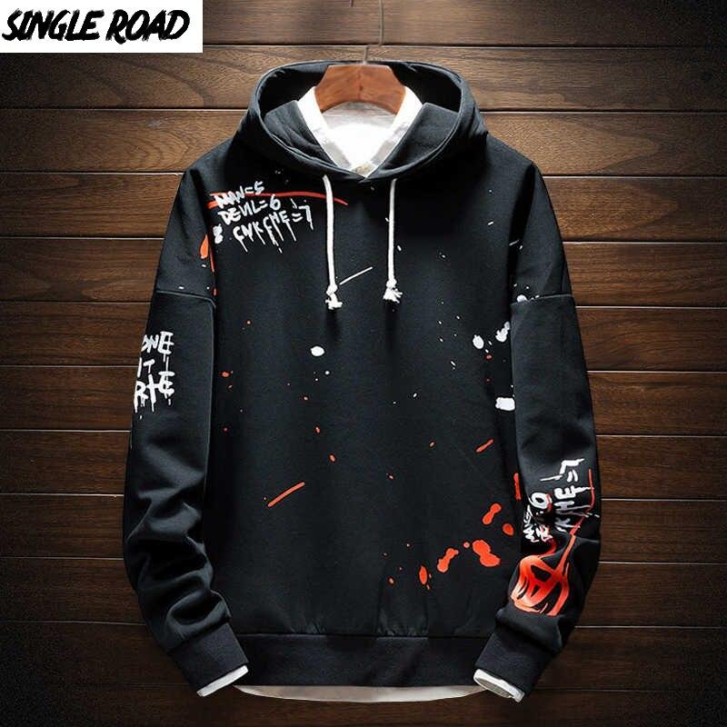 SingleRoad Mens Hoodies Men Sweatshirt Print Pullover Japanese Streetwear Harajuku Hip Hop Fashion Sweatshirts Male Hoodie Men