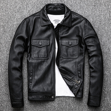 Free Shipping.Genuine Leather jacket.Winter casual black Men cowhide clothes.quality plus size leather coat.54-56 slim outlet
