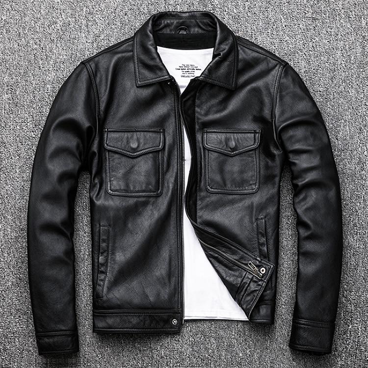 Free Shipping.Genuine Leather Jacket.classic Black Cowhide Jacket.style Pea Coat.fashion Jacket For Man.plus Size Slim Sales
