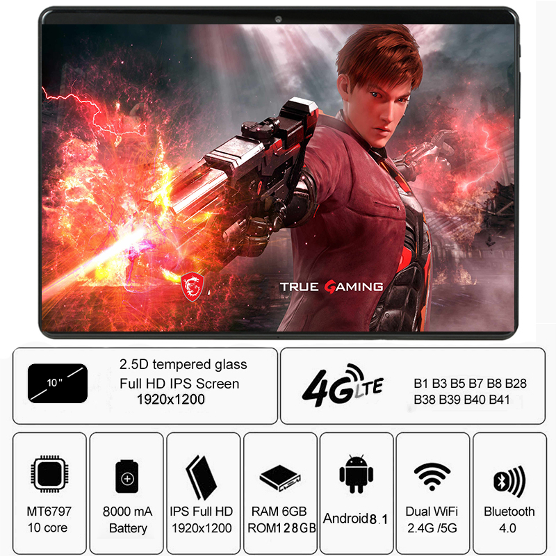 Global Version 2.5D Tempered Glass 10 Inch Tablet 4G LTE Deca Core 6GB RAM 128GB ROM 1920*1200 IPS WiFi Bluetooth+Gift
