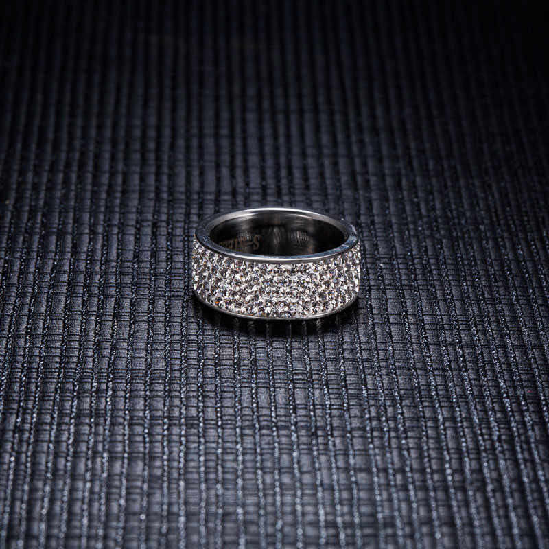 ZORCVENS 2019 New Brand Silver Color Stainless Steel 5 Rows CZ Stone Fashion Engagement Wedding Ring for Woman accesorios mujer