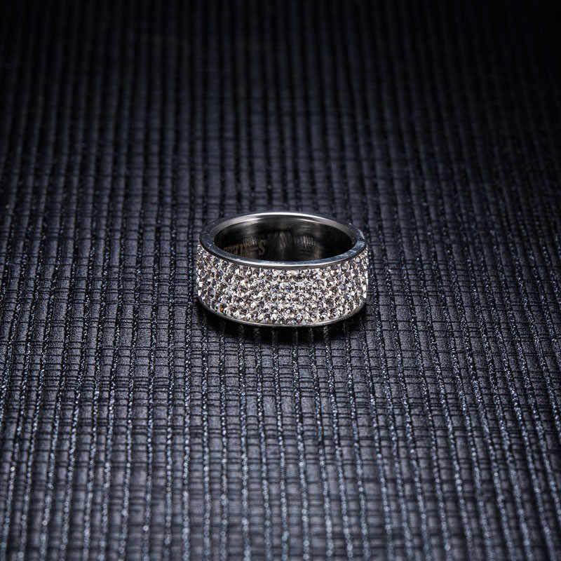 ZORCVENS 2019 Thương Hiệu Mới Màu Bạc Inox 5 Hàng CZ Đính Đá Thời Trang Cưới, Nhẫn cho Nữ accesorios mujer