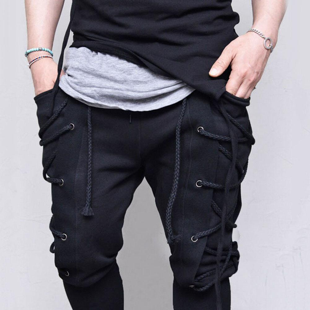 Men Solid Color Criss Cross Lace Up Baggy Sweatpants Medieval Viking Trousers