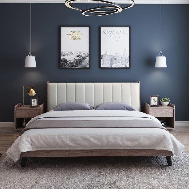 US $878.0 |Nordic letto Moderno e minimalista letto camera da letto  matrimoniale letto matrimoniale 1.8 metri a economia uno metro cinque letto  ...