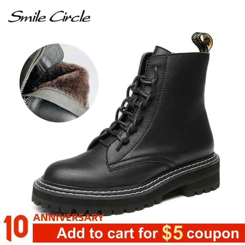 Smile Circle Ankle boots Women Genuine Leather Fashion British style Platform Shoes Women winter Fur warm boots Ladies Booties