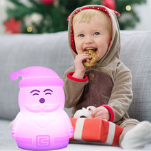 Silicone Santa Claus LED Night Light Touch Sensor Colorful USB Battery Powered Bedroom Bedside Lamp for Children Kids Baby Gift