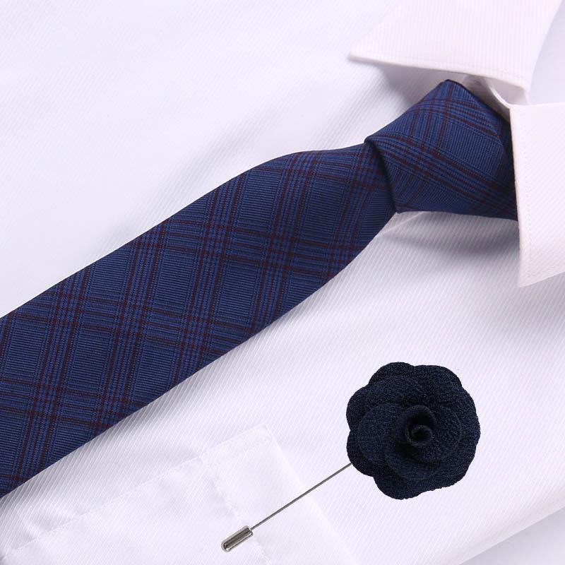 Luxury Jacquard Polyester 6.5 Cm Cotton Tie For Men Woven Brooch Necktie Skinny Tie Formal Business Men's Classic Necktie
