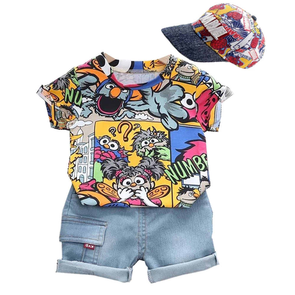 Cool Kid Boys Summer Clothes Outfit With Sunhat Fashion Graffiti Short-sleeved T-shirt Denim Shorts Set Children Pants  Clothing 1