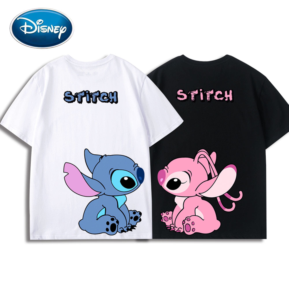 Disney Front Back Stitch Angel Little Monster Cartoon Print Couples Unisex Women T-Shirt O-Neck Short Sleeve Tee Tops 5 Colors