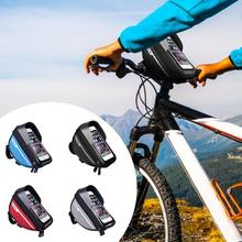 B-soul torba na rower rama przednia górna rura wodoodporna kierownica rowerowa torba na telefon komórkowy uchwyt na telefon rowerowy akcesoria rowerowe tanie tanio CN (pochodzenie) Z poliestru odporne na deszcz 18 5 * 9 5 * 8 5cm 100g red gray black blue