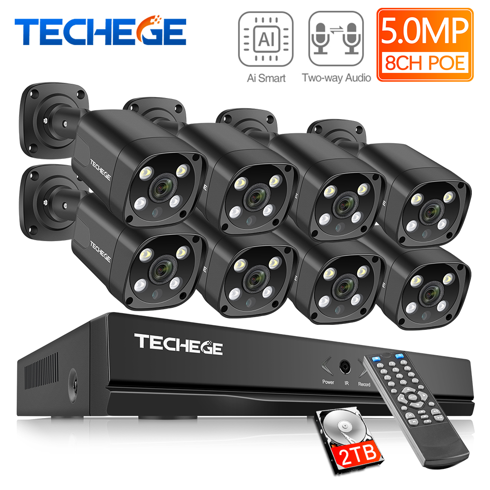 Techege H.265 8CH 5MP HD POE NVR Kit CCTV Security System Two Way Audio AI IP Camera Outdoor Waterproof Video Surveillance Set