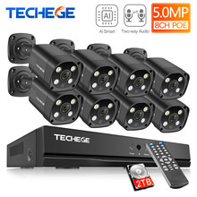 Techege H.265 8CH 5MP Hd Poe Nvr Kit Cctv Security System Two Way Audio Ai Ip Camera Outdoor Waterdichte Video surveillance Set(China)