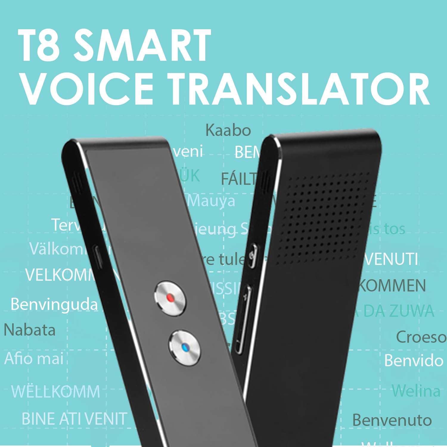 T8 Real Time Instant Voice Translator 2 Way Talking Mini Smart Voice Speech Translator 40+ Language Bluetooth Travel Translator