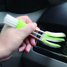 Double head car air conditioning air outlet blinds clean brush instrument dusting / keyboard brush multi-purpose clean brush(China)