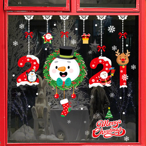 Merry Christmas Decorations For Home Wall Window Stickers Santa Decals Navidad Xmas 2020 Ornaments New Year Decor Glass Sticker