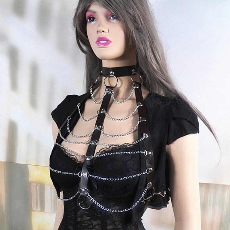 COLEMJE ผู้ใหญ่สตรีหนังเทียม Punk Gothic Halter คอ Body Chest Harness Chain พู่หน้าอกเข็มขัดล็อคชุด