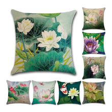 1PCc Lotus Pattern Pillow Covers Square Throw Pillow Covers Set Cushion Case for Sofa Bedroom Car 45 x 45 цены
