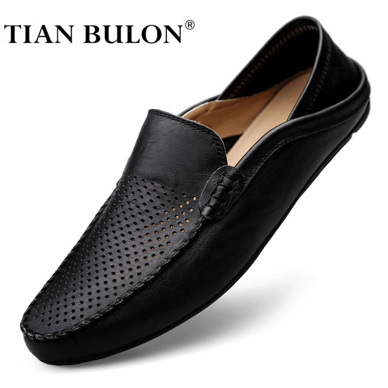 Summer Men Shoes Casual Luxury Brand Italian Mens Loafers Genuine Leather Moccasins Designer Breathable Slip on Driving Shoes