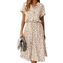 Летнее платье женское винтажное повседневное в горошек с принтом
