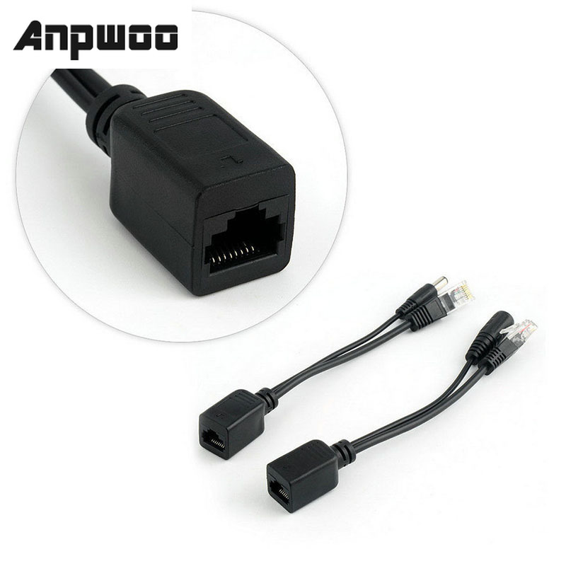 ANPWOO POE Cable Passive Power Over Ethernet Adapter Cable POE Splitter RJ45 Injector Power Supply Module 12-48v For IP Camea